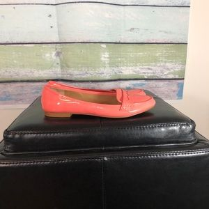 Zara Trafaluc Patent Coral Penny Loafer Flats